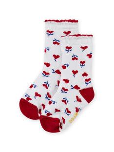 Meias cru e vermelho com estampado coração bebé menina MYIMIXSOQB / 21WI09J1SOQ001