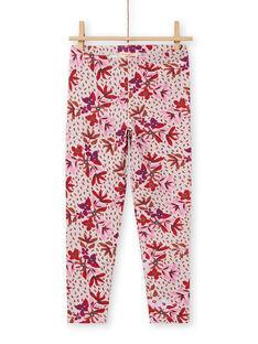 Leggings rosa com estampado florido menina MYACOMLEG / 21WI01L1CALD329