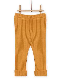 Leggings lisas amarelo mostarda caneladas bebé menina MYIJOLEGCO5 / 21WI0912CALB106