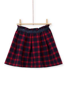 Calças evasês azul-noite e vermelho com estampado tartã menina MAMIXJUP1 / 21W901J2JUPC205