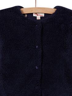 Cardigã reversível azul noite de pelo sintético menina MAJOCARF1 / 21W90114CARC205