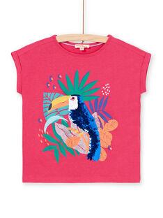 T-shirt rosa e azul com padrão tucano com lantejoulas LANAUTI1 / 21S901P2TMCF507