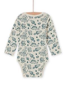 Body de mangas compridas cru e azul com estampado de espaço bebé menino MEGABODCHA / 21WH14C2BDL080