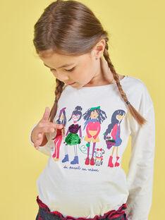 T-shirt de mangas volumosas cru com estampado de lantejoulas reversíveis menina MAMIXTEE4 / 21W901J5TML001