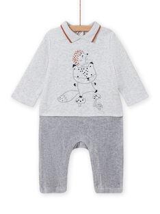 Macacão cinzento mesclado padrão raposa e ouriço-cacheiro recém-nascido menino MOU1COM3 / 21WF0441CBLJ920