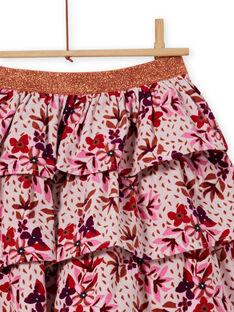 Saia com folhos de veludo canelado com estampado florido menina MACOMJUP2 / 21W901L1JUPD329
