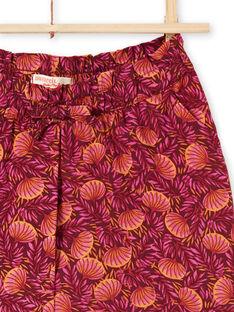 Calções bordô e laranja estampado folhagem menina LATERSHORT3 / 21S901V2SHO719
