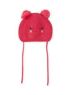 Gorro rosa vintage com padrão de gato e pompons bebé menina MYIFUNBON / 21WI0966BOND332