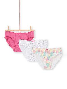 Lote de 3 cuecas rosa, amarelo e cru criança menina LEFALOTSTA / 21SH1125D5L304