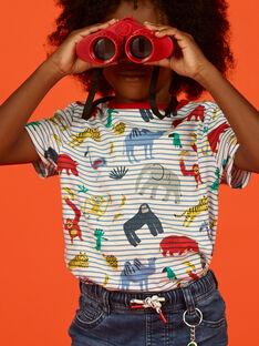 T-shirt cru e azul às riscas e estampado animais criança menino LOVITI1 / 21S902U1TMC001