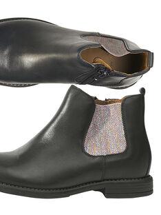 Boots chelsea couro azul-marinho criança menina GFBOOTVIA / 19WK35I4D0D070