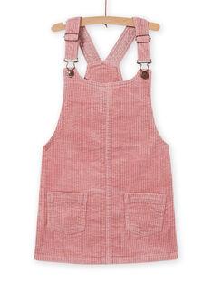 Vestido-jardineiras rosa envelhecido em veludo canelado menina MASAUROB2 / 21W901P3ROB303