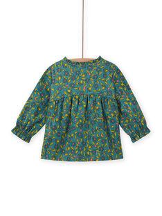Blusa de mangas compridas com estampado florido e às riscas bebé menina MIKACHEM / 21WG09I1BLU612