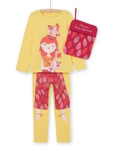 Pijama amarelo com estampado menina com a sua bolsa de arrumação LEFAPYJBIR / 21SH11S1PYGB116