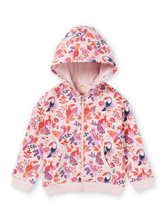 Sweat com capuz rosa e violeta com estampado de papagaios e florido menina MAJOHAUJOG3 / 21W90113JGHD314