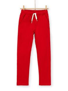 Calças vermelhas em algodão criança menino LOJOPAN3 / 21S90232PAN050