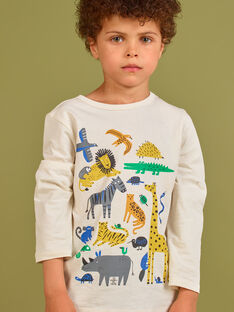T-shirt creme menino MOKATEE1 / 21W902I1TML007