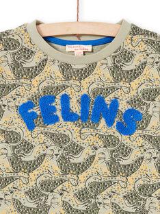 T-shirt caqui e azul estampado leopardo menino MOKATEE3 / 21W902I2TML612