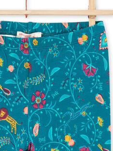 Leggings azul pato com estampado florido bebé menina MYATULEG1 / 21WI01K1CAL714