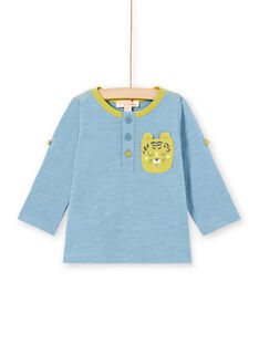 T-shirt azul de mangas compridas arregaçáveis bebé menino MUJOTUN1 / 21WG1021TML020