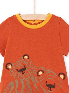 T-shirt e calções vermelho-tijolo e laranja bebé menino LUTERENS / 21SG10V1ENSF519
