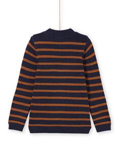 Camisola azul-marinho e castanho às riscas menino MOJOPUL2 / 21W90211PUL812