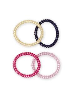 Pack de 4 elásticos com purpurinas a condizer menina MYAJOELA1 / 21WI01S4ELAH700