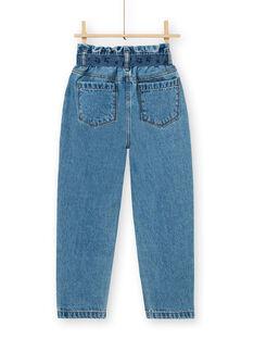 Calças de ganga paper bag e cinto azul de algodão LABLEJEAN / 21S901J1JEAP274