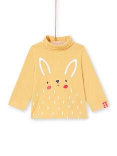 Camisola interior de mangas compridas cru com padrão tigre bebé menino MUJOSOUP3 / 21WG10N3SPL001