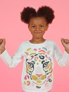 T-shirt cru e amarelo menina MAKATEE3 / 21W901I2TML001