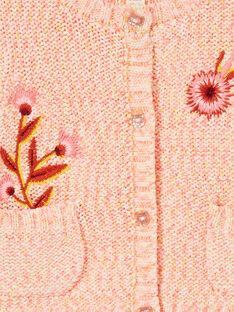 Casaco de malha rosa em tricô bebé menina LINAUCAR2 / 21SG09L1CAR318