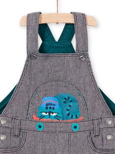 Jardineiras às riscas azul tinta com padrão de gato bebé menino MUTUSAL1 / 21WG10K2SALC234