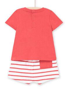 Conjunto T-shirt e calções vermelho bebé menino LUVIENS / 21SG10U1ENSF515