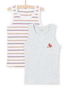 Lote de 2 camisolas de alças branco e cinzento combináveis menino MEGODELDINO / 21WH12B2HLI000