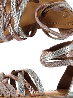 Sandálias citadinas em couro metalizado e entrançado menina FFSANDROX / 19SK35C2D0E956