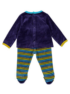 Pijama azul-marinho com parte de baixo às riscas em veludo menino GEGAPYJANI / 19WH14N1PYJ713