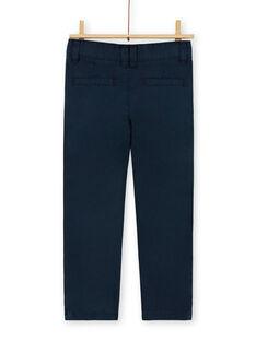 Calças chino azul-marinho em algodão criança menino LOJOPACHI2 / 21S90235PAN705