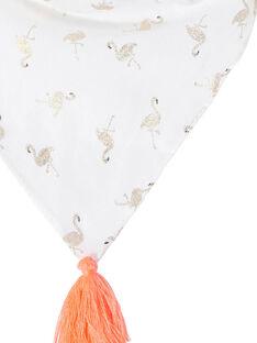 Lenço menina branco com flamingo rosa glíter dourado e pompons rosa JYAPOEFOUL / 20SI01G1FOU000