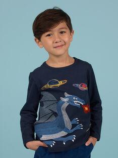 T-shirt azul-noite padrão dragão e espaço menino MOPLATEE3 / 21W902O4TML705