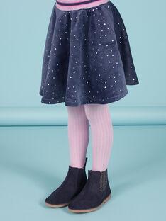 Saia estilo patinadora azul às bolas douradas em veludo menina MAPLAJUP2 / 21W901O2JUPC202