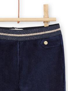 Calças azul-marinho veludo detalhes dourados bebé menina MIMIXPAN / 21WG09J1PAN070