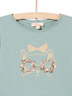 T-shirt turquesa de mangas compridas com padrão gato com purpurinas menina MAJOYTEE4 / 21W9012CTML612