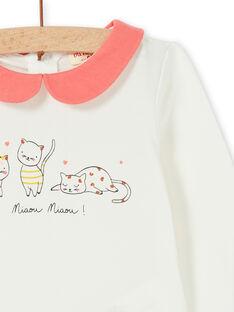 Body branco e coral em algodão bebé menina LINAUBOD / 21SG09L1BOD001