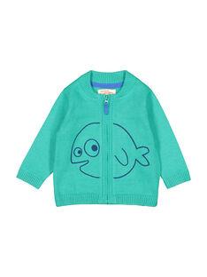 Casaco com zip verde em malha bebé menino FUJOGIL4 / 19SG1034GIL210