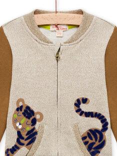 Casaco bege mesclado e castanho com padrão de tigre bebé menino MUKAGIL / 21WG10I1GIL604