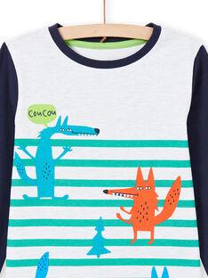 Conjunto pijama T-shirt e calças azul e branco menino MEGOPYJLOU / 21WH1233PYJJ920