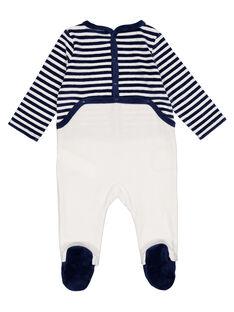 Babygro às riscas azul-marinho e cru em veludo menino GEGAGREFAN / 19WH14N2GRE070
