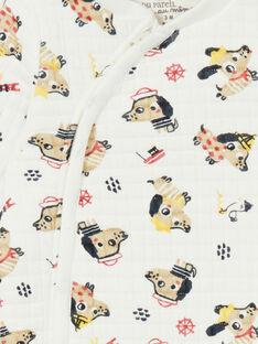 Babygro cru com estampado cães e decorativos em forro jersey LEFUGREAOP / 21SH1412GRE001