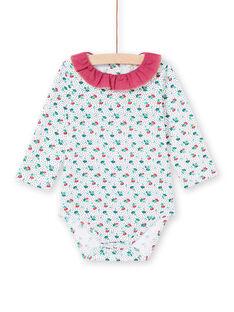 Body de mangas compridas com gola com folhos e estampado florido bebé menina MITUBOD / 21WG09K1BOD001