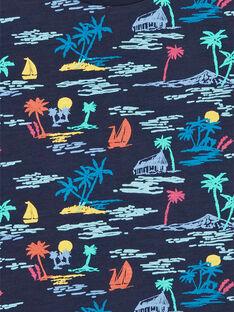 T-shirt azul-marinho e amarela estampado palmeiras criança menino LOBONTI3 / 21S902W6TMC705